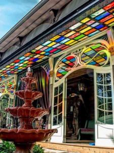 Adeline's House of Cool in Wisconsin entry awning fountain
